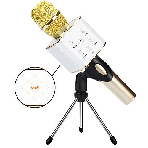 Drahtlose Karaoke Mikrofon,CrazyFire Bluetooth Tragbare Lautsprecher für Gesang/Sprache KTV Karaoke Player Handy Mikrofon Mit 2600mAh Batterie Kompatibel mit iPhone iPad iPod Android Smartphone