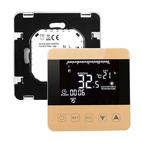 Asiproper Thermostat, digital, LCD WiFi, Alexa, Temperaturregler, Heizung Electric,gold