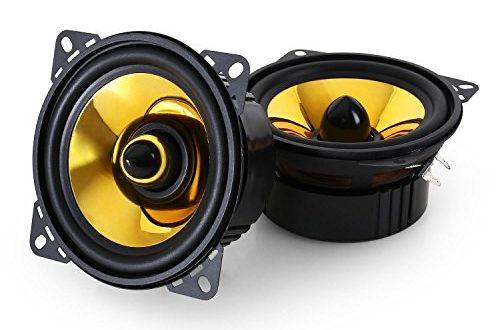 auna Goldblaster 4-3-Wege-Koaxial-Boxen, Auto Lautsprecher, Einbau-Lautsprecher Paar, 800 W max. Leistung, 2 x 10 cm-Boxen, Neodymium-Tweeter, ASV-Schwingspule, schwarz-Gold